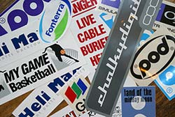 Examples of miscellaneous and bumper stickers printed by Screen Concepts.